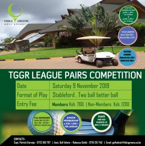 TGGR League Pairs Competition @ Thika Greens Golf Resort